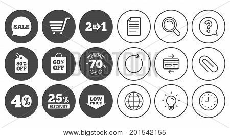 Sale discounts icon. Shopping cart, coupon and low price signs. 25, 40 and 60 percent off. Special offer symbols. Document, Globe and Clock line signs. Lamp, Magnifier and Paper clip icons. Vector