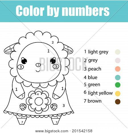 Coloring page with cute sheep, lamb character. Color by numbers educational children game, drawing kids activity, printable sheet