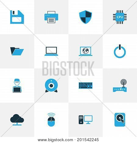Computer Colorful Icons Set. Collection Of Winchester, Firewall, Camera And Other Elements