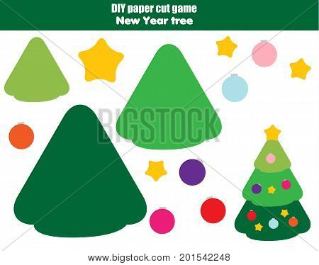 DIY children educational creative tutorial game. Paper cut activity. Make a New Year, Christmas tree with glue