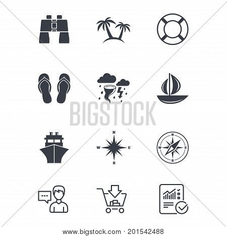 Cruise trip, ship and yacht icons. Travel, lifebuoy and palm trees signs. Binoculars, windrose and storm symbols. Customer service, Shopping cart and Report line signs. Online shopping and Statistics