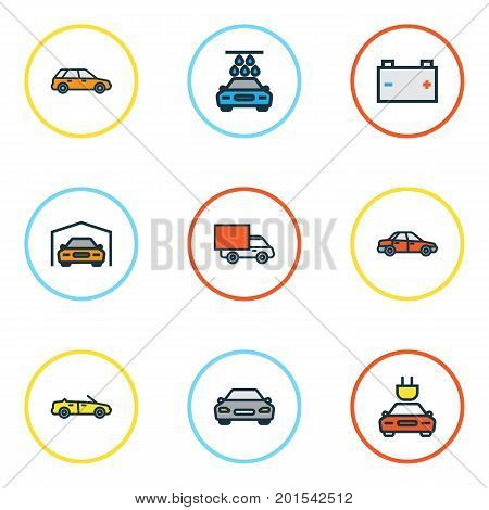 Auto Colorful Outline Icons Set. Collection Of Automobile, Van, Shed And Other Elements