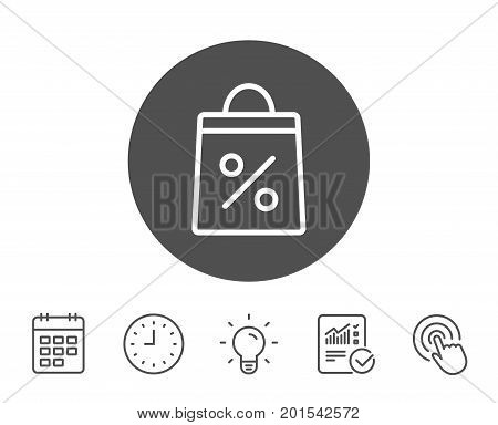 Shopping bag with Percentage line icon. Supermarket buying sign. Sale and Discounts symbol. Report, Clock and Calendar line signs. Light bulb and Click icons. Editable stroke. Vector