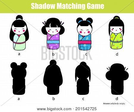 Shadow matching game for children. Find the right, correct shadow task for kids preschool and school age. Toddlers activity