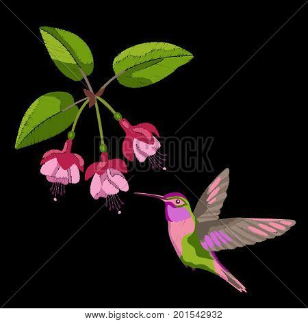Pink fuchsia and hummingbird embroidery on black background. Romantic floral textile print.