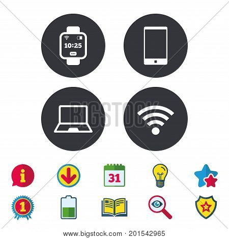 Notebook and smartphone icons. Smart watch symbol. Wi-fi and battery energy signs. Wireless Network symbol. Mobile devices. Calendar, Information and Download signs. Stars, Award and Book icons