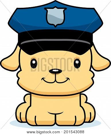 Cartoon Smiling Police Officer Puppy