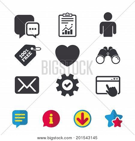 Social media icons. Chat speech bubble and Mail messages symbols. Love heart sign. Human person profile. Browser window, Report and Service signs. Binoculars, Information and Download icons. Vector