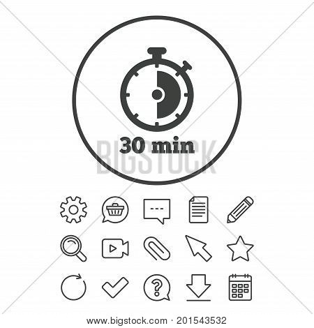 Timer sign icon. 30 minutes stopwatch symbol. Document, Chat and Paper clip line signs. Question, Pencil and Calendar line icons. Star, Download and Shopping cart. Vector