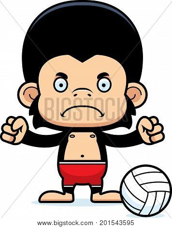 Cartoon Angry Beach Volleyball Player Chimpanzee