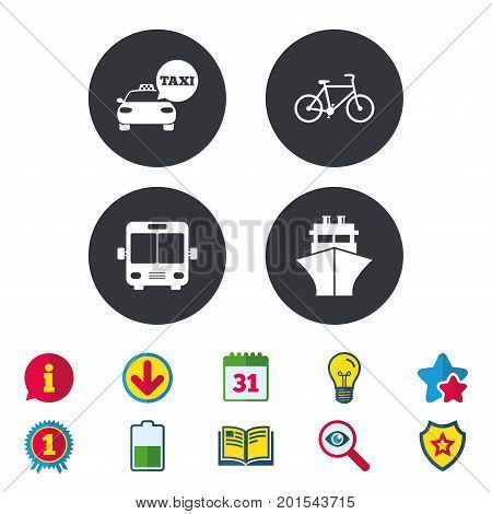 Transport icons. Taxi car, Bicycle, Public bus and Ship signs. Shipping delivery symbol. Speech bubble sign. Calendar, Information and Download signs. Stars, Award and Book icons. Vector