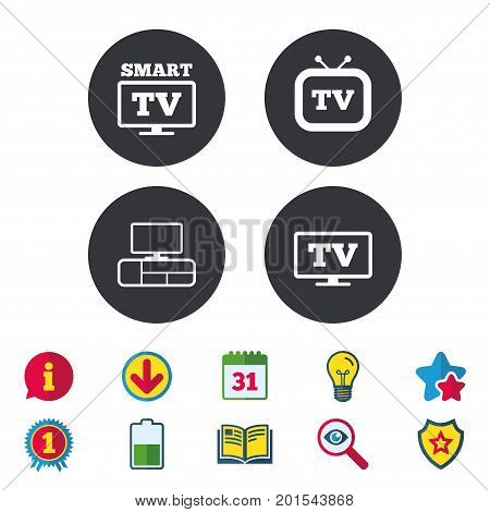 Smart TV mode icon. Widescreen symbol. Retro television and TV table signs. Calendar, Information and Download signs. Stars, Award and Book icons. Light bulb, Shield and Search. Vector