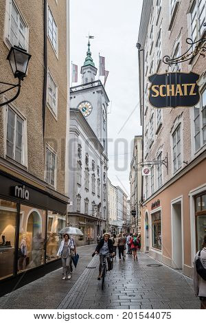 Salzburg Austria - August 6 2017: Scenic cityscape of historical city centre of Salzburg a rainy day of summer. The Old Town of Salzburg is internationally renowned for its baroque architecture and was listed as a UNESCO World Heritage Site.