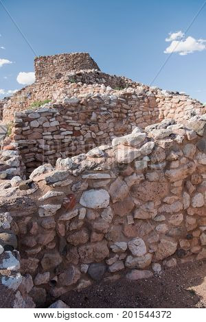 Ruins of the Tuzigoot National Monument dwellings of the 12th century Sinagua Indians on top of a small sandstone ridge near the towns of Clarkdale and Cottonwood in Arizona