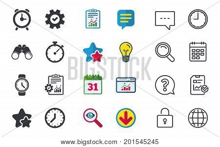 Mechanical clock time icons. Stopwatch timer symbol. Wake up alarm sign. Chat, Report and Calendar signs. Stars, Statistics and Download icons. Question, Clock and Globe. Vector
