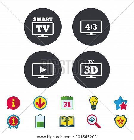 Smart TV mode icon. Aspect ratio 4:3 widescreen symbol. 3D Television sign. Calendar, Information and Download signs. Stars, Award and Book icons. Light bulb, Shield and Search. Vector