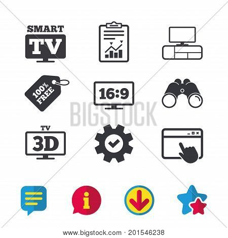 Smart TV mode icon. Aspect ratio 16:9 widescreen symbol. 3D Television and TV table signs. Browser window, Report and Service signs. Binoculars, Information and Download icons. Stars and Chat. Vector