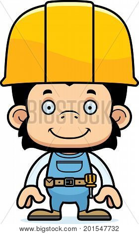 Cartoon Smiling Construction Worker Chimpanzee