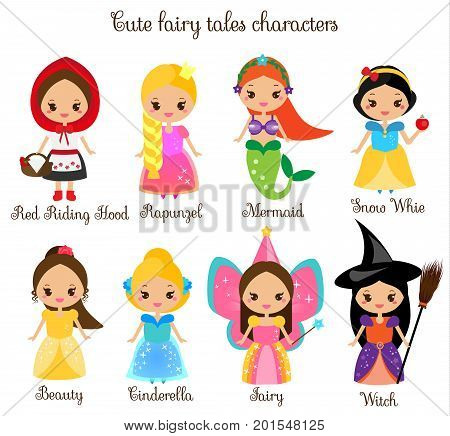 Cute kawaii fairy tales characters. Snow white red riding hood rapunzel cinderella. Princess in beautiful dresses. Cartoon style. Children stickers kids illustration toddlers fashion prints