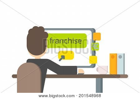Vector flat design. A businessman buys franchise for his business.