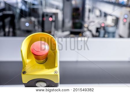 Close up of emergency button in an industrial plant