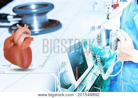 stethoscope and heart on wave ekg graph data patient and doctor use electro cardiogram machine