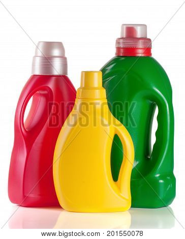 laundry detergent bottle with fabric softener isolated on white background. poster