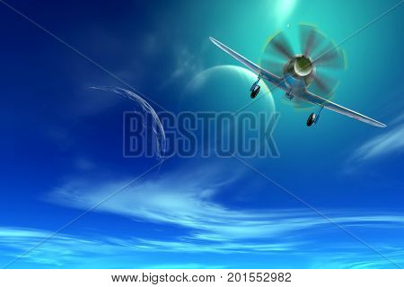 Collage. Old military aircraft fighter in the sky of an alien planet