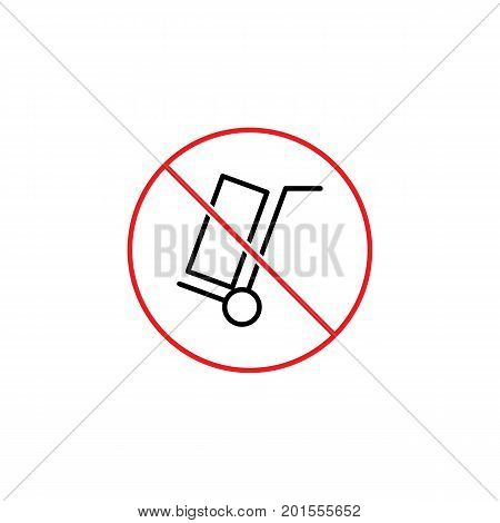 Hand Truck Prohibition Sign On White Background