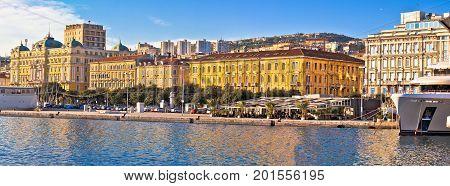 City Of Rijeka Waterfront Boats And Architecture Panoramic View