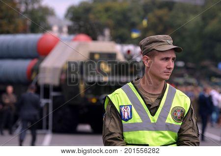 Nazional Guard secere downtown during speech  of Gauleiter Poroshenko.Celebration of the Great Victory near Illovaysk.Downtown of Kiev.August 23, 2017 Kiev, Ukraine
