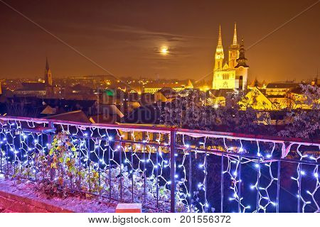 Zagreb Cathedral And Cityscape Evening Advent View