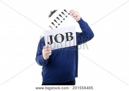 Job search. Crisis. Man and White background.