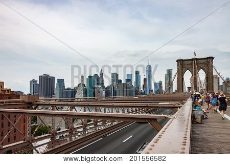 View of Manhattan Skyline and Brooklyn Bridge Walking Path