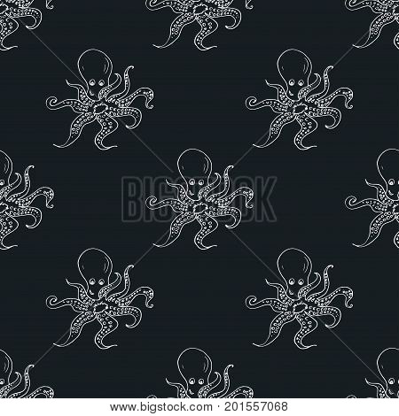Seamless pattern with octopus on dark background, stock vector illustration