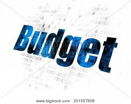 Money concept: Pixelated blue text Budget on Digital background