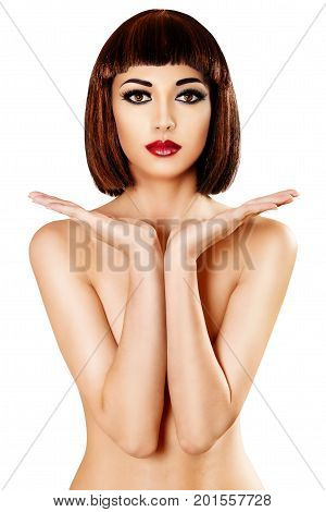 Woman Beauty Makeup Sexy Girl Showing Hands Advertising Face Skin Body Product White Background
