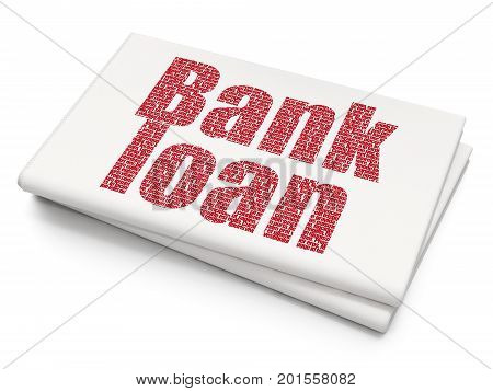Banking concept: Pixelated red text Bank Loan on Blank Newspaper background, 3D rendering