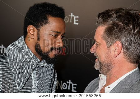 NEW YORK, NY - AUGUST 17: Actor (L) Lakeith Stanfield and Shea Whigham attends the 'Death Note' New York premiere at AMC Loews Lincoln Square 13 theater on August 17, 2017 in New York City
