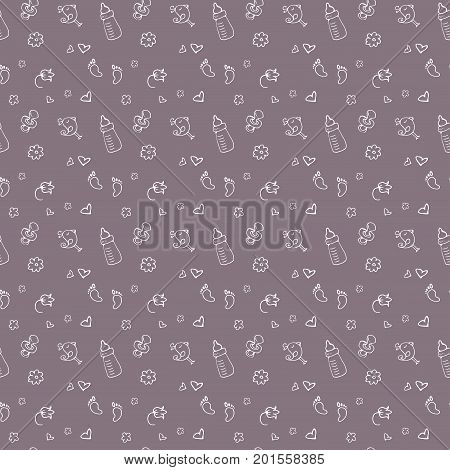 newborn baby necessities seamless pattern in colorful hand drawn style, vector illustration
