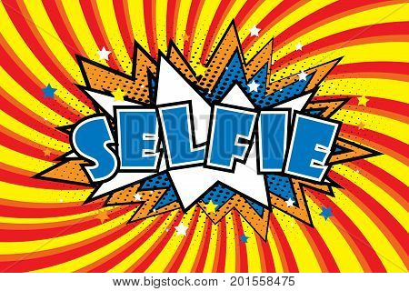 SELFIE Comic sound effects in pop art style. Burst best graphic effect with label and text in retro style. Vector illustration