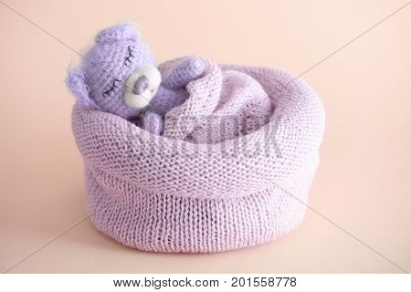 Cute handmade toy bear sleeping in knitted bag on light background