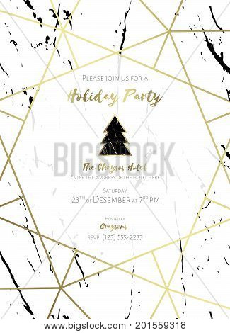 Invitation to a holiday party. White and black marble background, gold text and gold geometric pattern. Christmas design template. Dimensions 5x7 in, 0.125 bleed size. Seamless pattern included. EPS10
