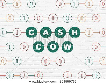 Finance concept: Painted green text Cash Cow on White Brick wall background with Binary Code