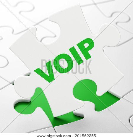 Web design concept: VOIP on White puzzle pieces background, 3D rendering