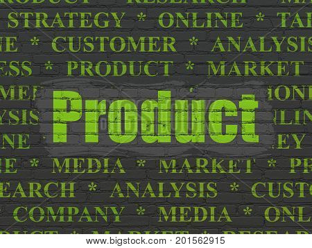 Marketing concept: Painted green text Product on Black Brick wall background with  Tag Cloud