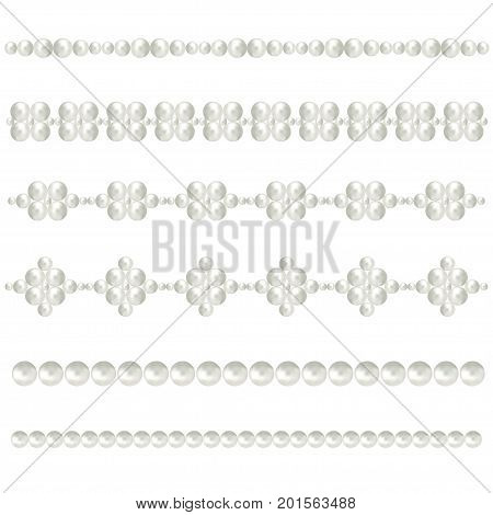 White pearl borders. Vector bride pearls vintage accessories necklace patterns isolated on white. Elegant luxury decoration feminine with pearl bead illustration