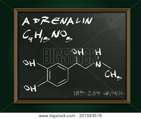 Adrenalin molecule image. Vector illustration in white color handwritten on dark grey background. Chemistry, biology, medicine and healthcare concept with chalk handwriting. Medical class blackboard.