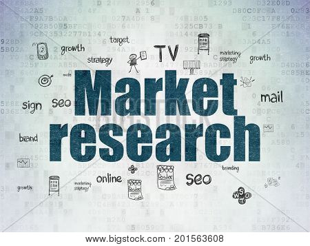 Marketing concept: Painted blue text Market Research on Digital Data Paper background with  Hand Drawn Marketing Icons