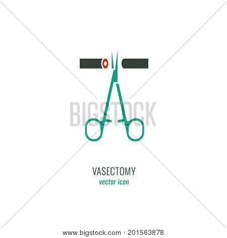 Man Contraception Pictogram. Vasectomy icon in green medical colours. Vector illustration in flat style.